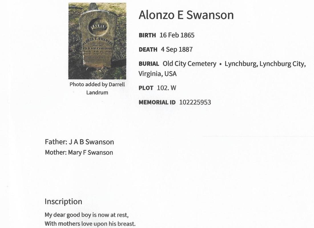 Alonzo Swanson grave marker 001