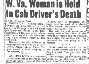 Ashlin, Byrl Dewey death, newspaper clip 001