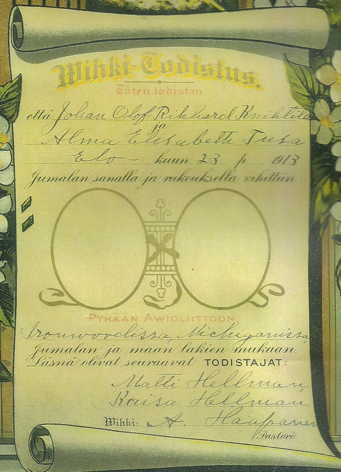 Alma Richard Marriage cert 001
