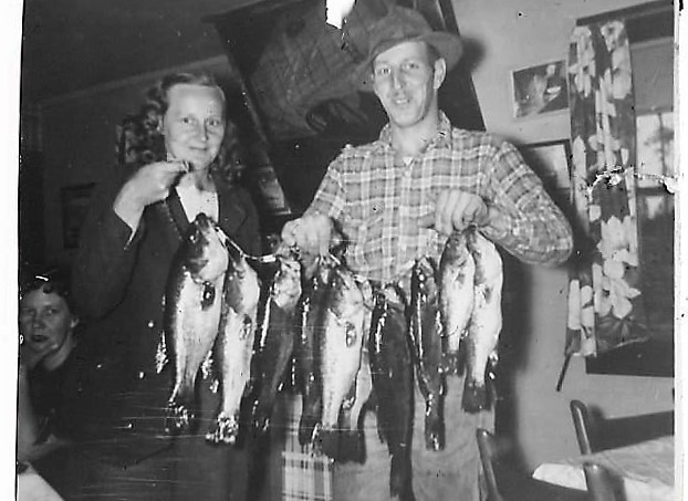 LaFon and Elma & fish, Deer Trail, 1950 001