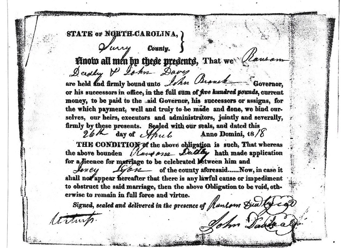 Dudley, Ransom and Lyon, Jency, marriage 1818 001