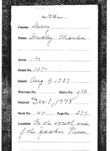 dudley, charles, land grant, 1787, surry nc 001