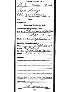hodges, asa, milit, muster card, 1863, chickasaw nation (dudley) 001