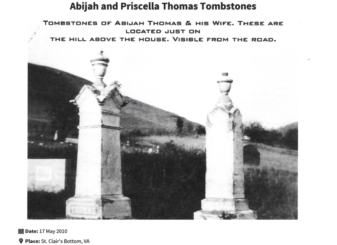 Thomas, Abijah, grave, 1876, St Clair's Bottom, Smyth VA 001