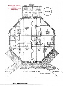 Thomas, Abijah, Octagon House, 1st floor plan 001