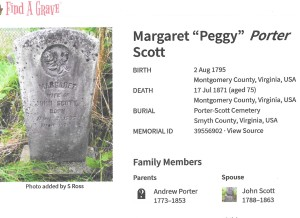 Porter, Margaret Scott, grave, 1871, Montgomery VA 001