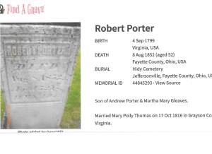 Porter, Robert, grave, 1852, Fayette, Ohio 001