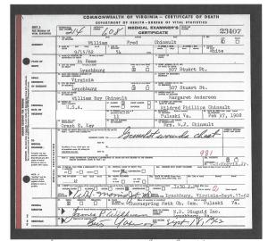 Chinault, Wm Fred, husb Mildred Phillips, death, 1962, Lynchburg VA 001
