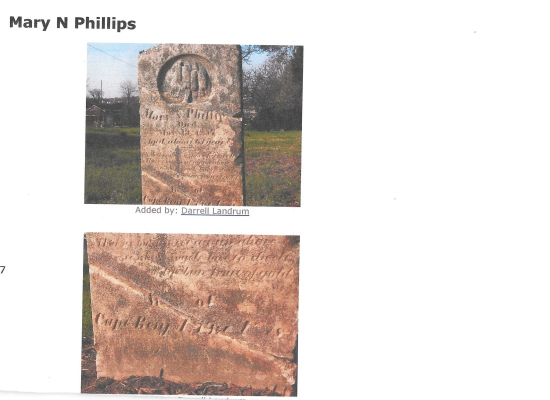 Cazey, Mary N Phillips, grave, 1857, Lynchburg VA 001 (2)