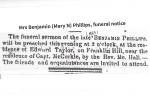 Cazey. Mary Phillips, funeral, 1857, newspaper 001