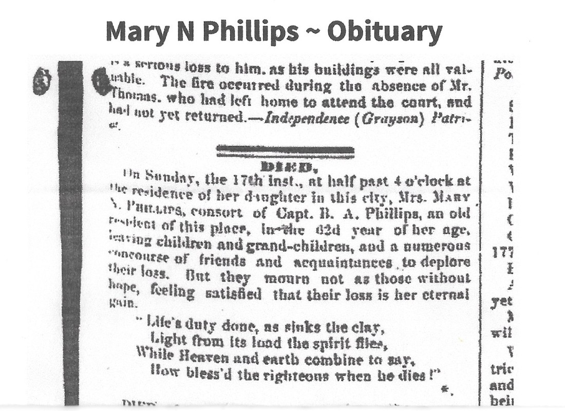 Phillips, Mary N Cazey, Obit, 1857 VA 001