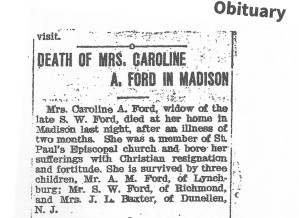 Phillips, Caroline Ford, obit, 1904, Mad Hts, VA 001