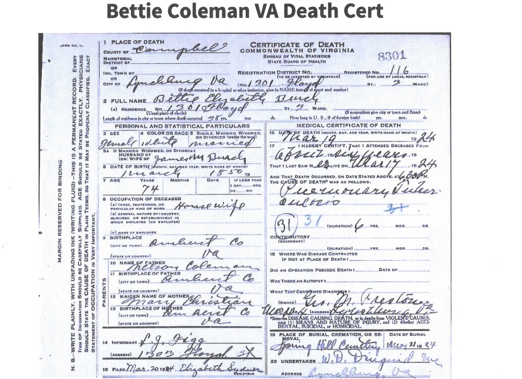 Burch, Bettie Coleman, death cert, 1924, Lynchburg VA (James M) 001