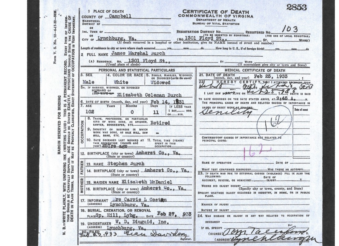 Burch, James Marshal, death cert, 1933, Lynchburg VA 001