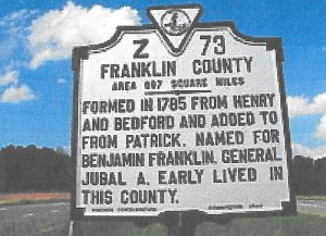 Franklin Co VA road sign 001