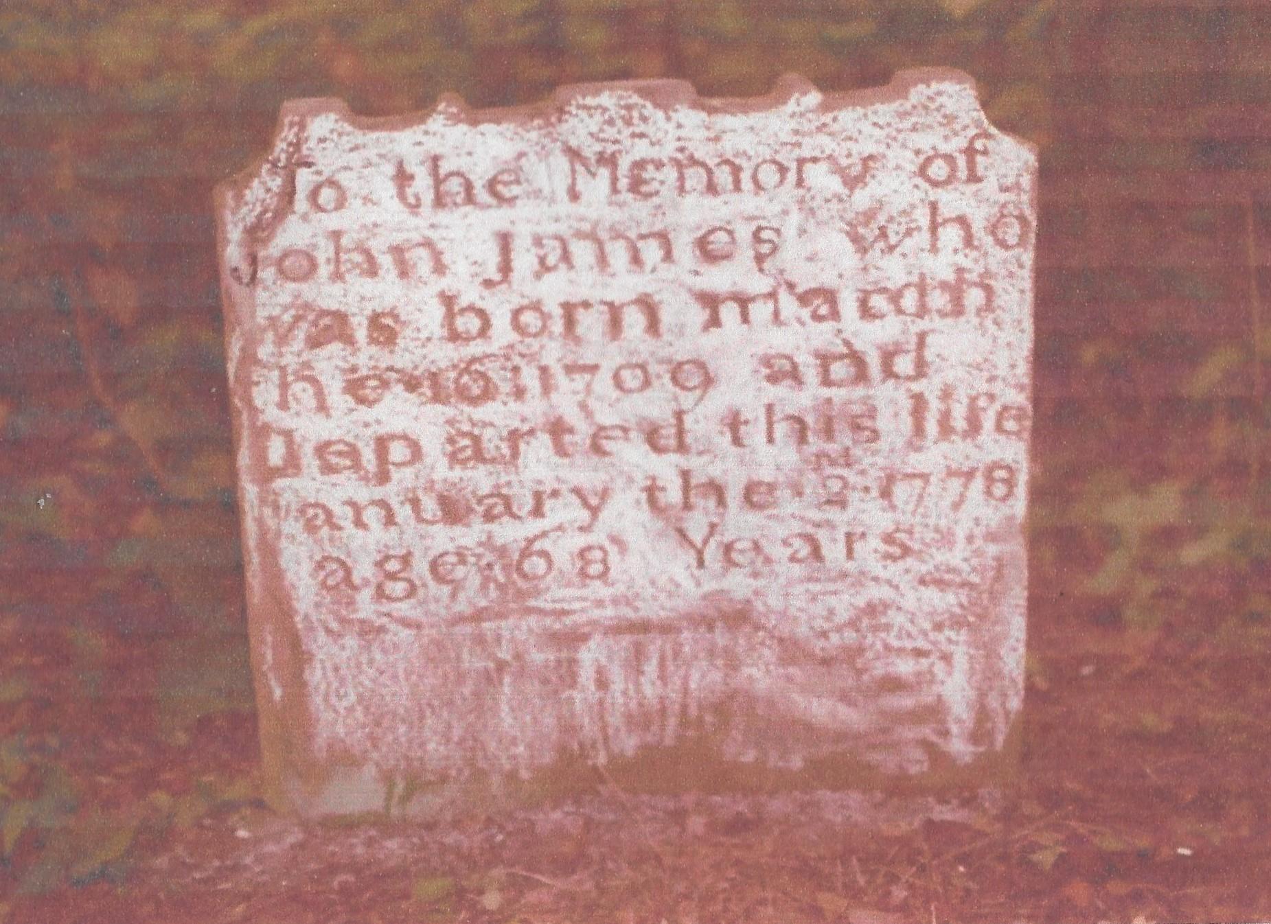 James, John, gravestone, 1778, Elk Run, Fauquier VA 001