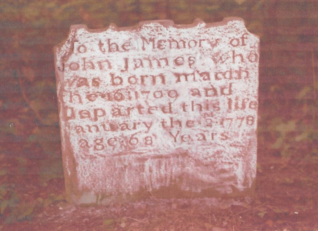 James, John, gravestone, 1778, Elk Run, Fauquier VA 001